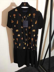 Milan Pist Elbise 2019 İlkbahar Yaz O Boyun Kısa Kollu Panelli çanta Baskı Tasarımcısı Elbise Marka Aynı Stil Elbise 022806WL
