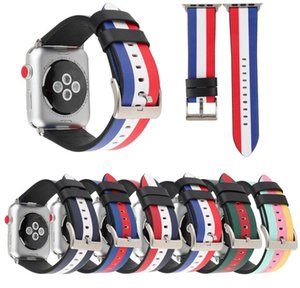 Flag Stripe Geniune Leather Band Replacement Strap for iWatch Series 5 4 3 2 1 Apple Watch 38mm 42mm 40mm 44mm