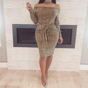 2019 Autumn Women Vestidos Dresses Elegant Evening Sexy Party Dresses Vintage With Slash Neck Casual Club Dress Bandage Clothing Wholesale