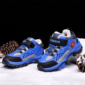 Дети Зимняя Обувь Мальчики Нескользящие зима тапки 2019 Открытый Теплый Plus Fur Boots тинейджеров Mountain Climbing Треккинговые ботинки