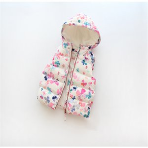 Baby Girl Clothes Cute Baby Vest Butterfly and Cat Girls Clothing Colete Infantil Warm Hooded Fashion Cotton Vest 2-8Y