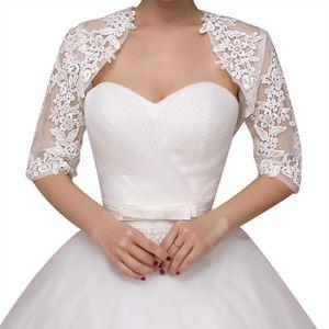White Lace Jacket meia luva bordada casamento Jacket Lace Noivas Bridesmaids Lace Xaile Enrole Faux Fur Scarf Stoles