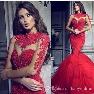 Sexy Illusion Lange Ärmel Rote Abendkleider Arabische Meerjungfrau Stehkragen mit Applizierten Perlen Lange Geraffte Formale Party Celebrity Kleider