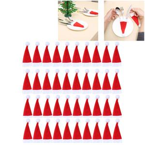 40Pcs Natale decorativo mini Santa cappelli forchette bag stoviglie coltello copertura di immagazzinaggio Strumento di Natale Cappello da tavola