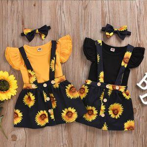 Bebek Tasarımcı Giyim Kız Ruffle Kol Romper Ayçiçeği Etek saç bandı 3adet Setleri Bebek Suspender Etek Yaz Bebek Kıyafetleri DW5330 Takımları
