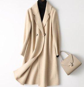 2019 Automne et Hiver Double Couche Pure Cachemire Manteau Femmes Veste Longue Laine Laine New Pure Couleur Cardigan, plus la taille 2XL