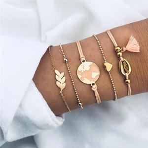 Branelli neri boema catena BRACCIALE Per Bracciali catena donne Cuore Compass modo di colore dell'oro dei monili di regalo