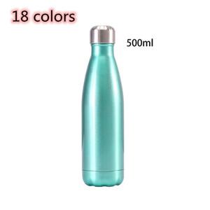 عزل زجاجة الكولا 18 الألوان شكل الكولا زجاجة المياه الفولاذ المقاوم للصدأ 500ML 17oz الترمس جدار مزدوج زجاجة ماء قابلة لإعادة الاستخدام