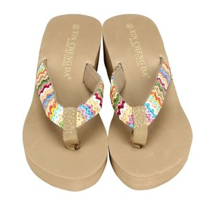 shoes woman Bath slippers Platform unicornio Beach Wedge Patch Flip Flops Lady Outdoor zapatos mujer slippers women's shoes A8