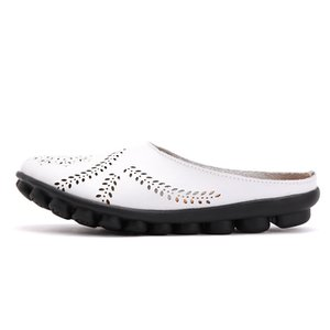 Tamaño grande 34-44 2019 Primavera Mujer Pisos Zapatos de verano Mujer Pisos de cuero genuino Zapatos de las señoras Mujer Recorte Slip on Slipers