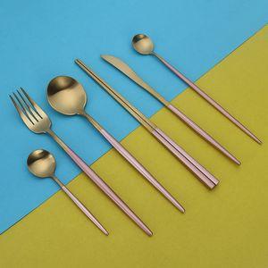 البرتغال الغربية أدوات المائدة مجموعة التيتانيوم 304 المقاوم للصدأ والسكاكين ملاعق شوكة سكين عيدان مجموعة الغربية عشاء cutleries هدية