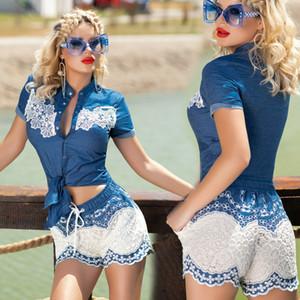nueva moda de 19 mujeres la mejor calidad de las señoras del mono de una pieza Catsuit Hotpantsoverall Jeans azul de la mirada