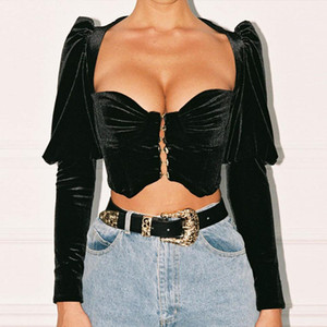 Strapless Velvet Sexy Crop Top Women Autumn Long Sleeve V-Neck Short Women Tshirt Black Slim Casual T-shirt Women Streetwear Bustier Outfits