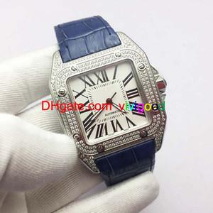 Lujo Top Brand 100XLMen Relojes Cuadrados Ginebra Genuino Diamante Relojes automáticos Moda de alta calidad Mens Santo Relojes