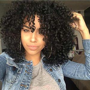 Cheveux noirs bouclés synthétiques courts perruques Bob perruque moyenne partie perruque pour femmes