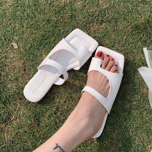 2020 Womens Slippers Verão Slingback Shoes Sandals slides Abra Toe Mulheres Plano Heel Feminino Praia Flip Flops Moda Casual Shoes
