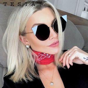 TESIA 2020 new arrival cat eyes sunglasses women mental frame vintage lens mirrror coating women goggles designed by famousT1021