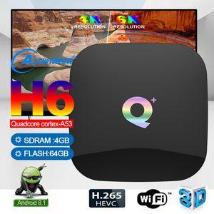 Q زائد الروبوت 8.1 TV مربع مع H6 TV 4GB 64GB الذكية صندوق دعم 2.4G واي فاي أفضل من TX3 TX6