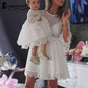 Everkaki Lace Mother And Daughter Dress Family Matching Outfit Mom And Baby Boho Dresses Attire Female 2020 Summer New FashionblNI#