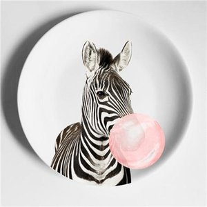 6inch Decorative Wall Hanging Plates Elk Zebra Illustration Home Decorative Craft Dish Nordic Piero Style Multicolor