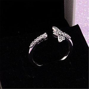 De haute qualité 100% Argent 925 Sparkling Dragonfly ouvert Bague européenne Style Pandora Charm Bijoux