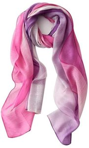 Scarf Gradient Silk Scarf Women Joker Breathable Silk Blend Long Beach Towel Shawl Simple and practical product (Color : Purple)