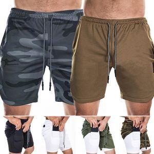 Mens 2 в 1 Fitness Идущие Шорты Мужские Спортивные шорты Камуфляж Быстрый Сушка Обучение Gym Спорт Мужчины Joggers Короткие штаны