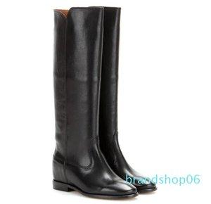 Perfeito Projeto Nova Sapatos de couro Isabel Chess Botas Paris Street Style Moda Marant Black Leather Oculto Wedge botas de montaria