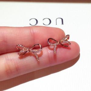 Mode Boucles d'oreilles en argent sterling Stud Or argent mignon Bow Tie Zircon Boucles d'oreilles pour les femmes Filles Party cadeau Bijoux