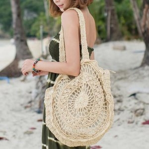 Borse Bohemian paglia per le donne grande cerchio borse della spiaggia del nuovo progettista estate Vintage Rattan Bag Handmade Kintted borsa da viaggio