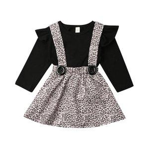 Autumn infantil crianças Baby Girl Clothes Define Sleeve Long Black Pullover Tops + leopardo Bib Vestido Outfit Set