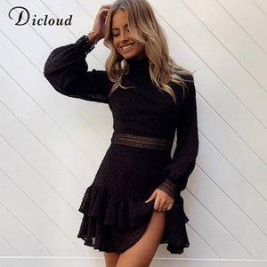 Abbigliamento Fashion Dress nero DICLOUD elegante scava fuori le donne Dot manica lunga della molla di autunno Una linea mini partito vestito sexy 2020