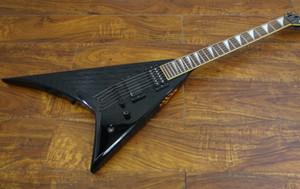 Пользовательские 24 RR Randy V Black Flying V Electric Guitar, шея через тело, скопируйте пикап EMG, черное оборудование, жемчужная акула FIN INLAY
