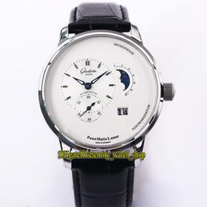 TZ Glashütte Оригинал ПАНО MATIC ЛУННЫЙ 1-90-02-42-32-05 Белая фаза Луны набор Cal.90-02 Автоматическая Мужские часы 316L Стальной корпус часов класса люкс