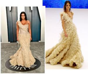 Kim Kardashian Batı Gelinlik Oscar Katmanlar Abiye Giyim Plus Size Özel Durum Parti Vestido de fiesta Kırmızı Halı Elbise