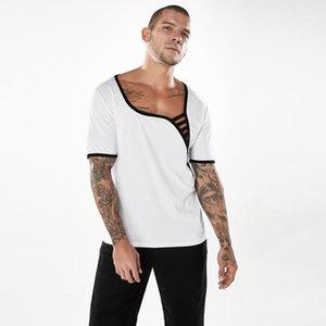 Giyim Geometrik Baskı Tasarımcı Erkek tişörtleri Doğal Renk Moda Tshirts Kısa Kollu Casual Scoop Boyun Tshirts Mens