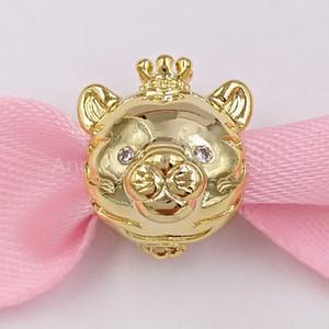 Auténticos 925 cuentas de plata esterlina encanto encantos brillantes Tigre se adapta al estilo europeo joyería de Pandora collar de las pulseras 768594C01