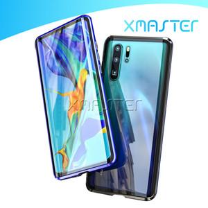 Para Huawei P40Pro Mate20 OnePlus 8 dupla moldura de vidro Magnetic adsorção do metal do telefone de liga de alumínio com xmaster Duplo vidro temperado