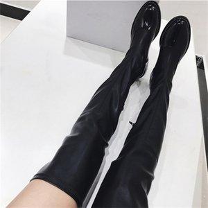Fornihapfirafs Новые сексуальные женщины Эластичный Long Boots Chain Side Zip Stacked Каблуки высокие сапоги Black Over-The-Knee High Boots