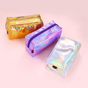 Лазерная макияж сумка Прозрачный водонепроницаемый мешок хранения путешествия Косметический мешок Женщины стирают сумки Мода Организатор лазерной Сумочка Кошелек VT1637