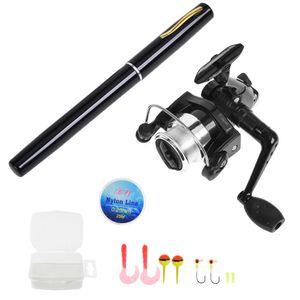 Pen Fishing Rod and Reel Combo Set Mini Telescopic Pocket Fishing Rod Spinning Reel Fishing Line Soft Lures Baits Jig Hooks