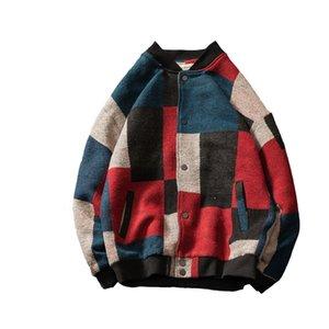 Men's woolen jacket Men's stitching casual V-neck wool jacket coat Korean version of clothes street clothing men