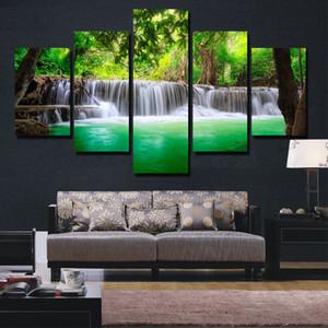 BANMU 5 Panneau Cascade Peinture Toile Mur Art Photo Décoration Décoration Salon Impression Sur Toile Peinture Art Sans Cadre