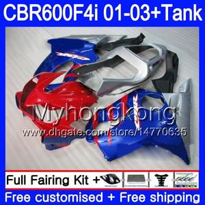 Кузов + бак для HONDA CBR 600F4i CBR600FS CBR600F4i 01 02 03 286HM.51 синий серебряный горячий CBR600 F4i 600 FS CBR 600 F4i 2001 2002 2003 обтекатели