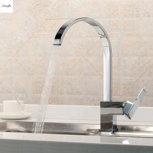 Chrome Polished Kitchen Square Basin Faucets 360Rotation Single Hole Single lever Water Tap Bathroom Cold and Hot Mixer Tap