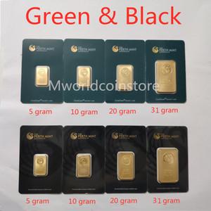 5/10/20 / 31gram The Perth Mint Gold-Plated Bullion barre 999 Fine Australia Gold Plate Bar Green / Black Blister Collezioni di qualità Souvenirs Regali all'ingrosso