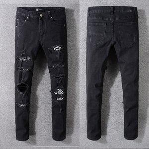 2020 concepteur marque de marée haute rue jean hip-hop Amiri couleur de la peinture européenne et américaine Amiri éclaboussé lavé pantalon broderie trou noir