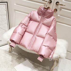 New Feminino de Down Parka do inverno do revestimento das mulheres de tamanho grande grossa jaqueta solta Pato Branco Brasão de Down Waterproof Casacos