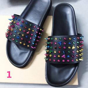 Men Slippers with Box Luxury Designer Men Beach Slipper Espadrilles Rivet Stud Slippers Non-slip Leather Mens Casual Spikes Shoes size 38-45