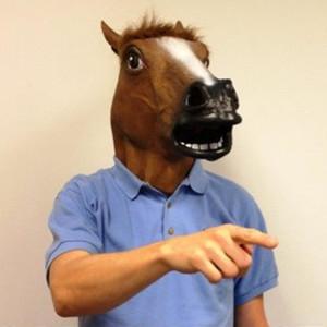Лошадь Head Mask Латекс животных Маска Cosplay Реквизит для Маскарад партии Halloween Пасха партия Смешные Headgear декоративных изделий T191010